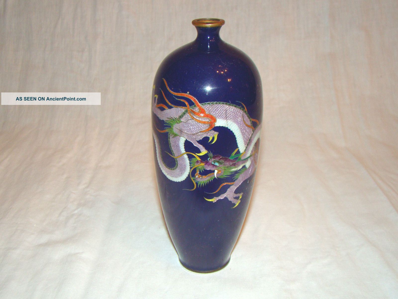 Lot 2 antique meiji period japan japanese cloisonne enamel dragon lot 2 antique meiji period japan japanese cloisonne enamel dragon vase signed reviewsmspy