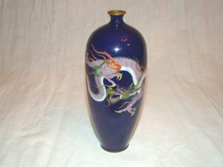 Lot 2 Antique Meiji Period Japan Japanese Cloisonne Enamel Dragon Vase Signed photo