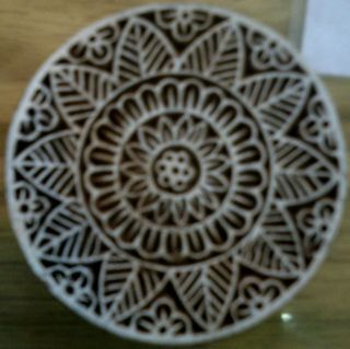 Art 243 Wooden Block Print Round Carved Floral Design Craft India Stamp photo