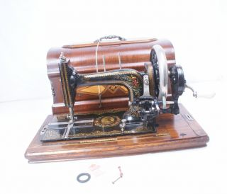 Antique 1897 - 1901 German Stoewer Hand Crank Sewing Machine Victorian Beauty photo