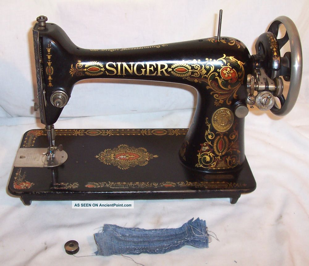 Serviced Antique 1910 Singer 66 Red Eye Treadle Only Sewing Machine Works Video Sewing Machines photo