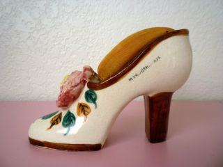 Vintage Antique Ceramic High Heel Shoe Pin Cushion,  Occupied Japan,  Plymouth photo