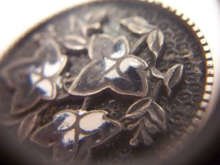 Antique Art Deco Enamel Button - Black And White - Ivy Leaves - Good Condition photo