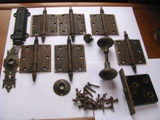 Antique Eastlake French Double Pocket Door Hardware Hinges Knob Backplates photo