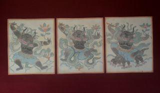 Mongolian Antique Buddhist 3 Set Tsakli Hand Drawings photo