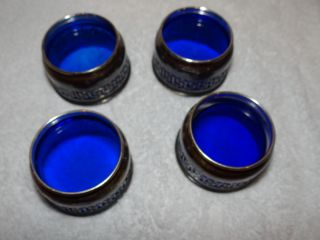 4 Gorham Sterling Silver Open Salts Cobalt Blue Glass Liners,  2 Chipped 2