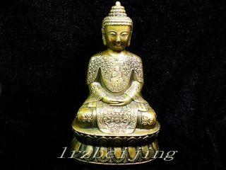Chinese Copper Sakyamuni Buddha Statue Carved photo