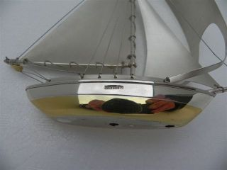 Masterly Hand Crafted Japanese Solid Sterling Silver 970 Yacht Boat Ship Japan photo