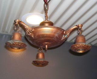 Antique Brass Hanging Chandelier - 3 - Arm - Pan Interior Ceiling Light (l291) photo