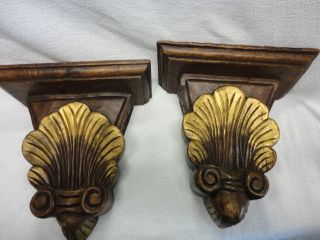 Antique Hand Carved Wood Sconces Wall Shelves Wooden Ware Intricate L@@k photo