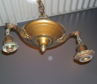 =antique Brass Hanging Chandelier - 2 - Arm - Pan Interior Ceiling Light (l293) photo