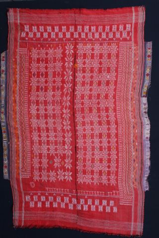 Antique Hand Embroidery Odhani (blanket) Rajasthan.  India Large Textile photo
