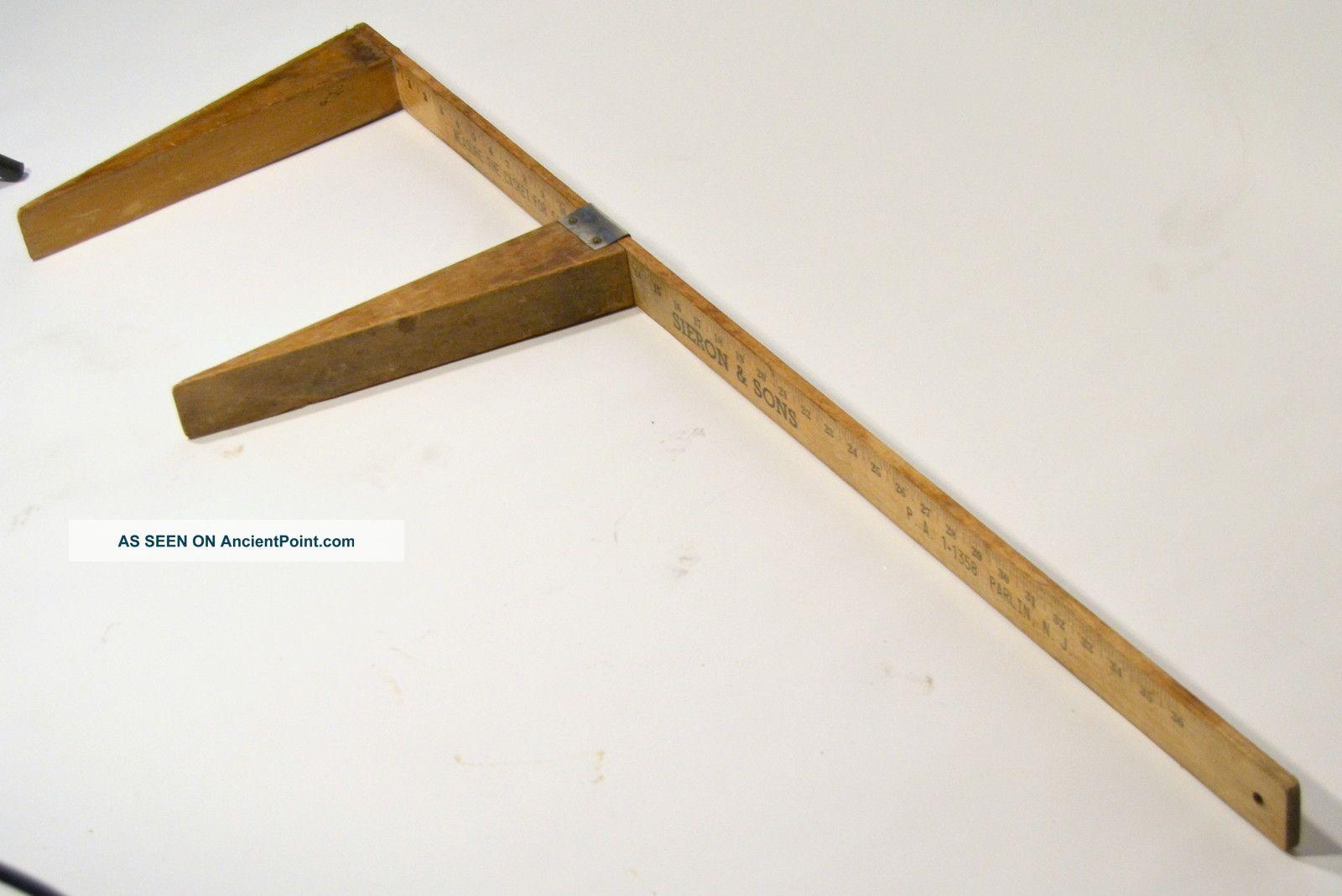 Rare Antique Funeral Home Casket Wooden Calipers: Measures Caskets