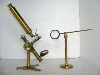 19th C.  Brass Microscope With Accessories By Negretti & Zambra, photo