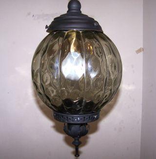 Vintage Retro 1960s Green Thick Globe Spelter Metal Lantern Chandelier Fixture photo