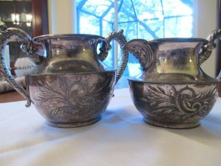 Antique Quadruple Plate Essex Silver Co Ornate Creamer And Sugar Bowl E1651 photo