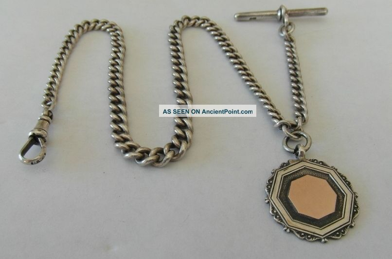 Victorian Antique Silver Graduated Pocket Watch Chain 1888 & Medal Fob B Cooke Pocket Watches/ Chains/ Fobs photo