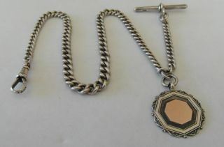 Victorian Antique Silver Graduated Pocket Watch Chain 1888 & Medal Fob B Cooke photo