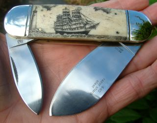 Scrimshaw Nautical,  Tall Ship,  Lighthouse,  2 Blade Folding Knife/knives photo
