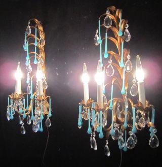 2 Italy Antique Gilt Tole Macaroni Opaline Blue Glass Prism Sconce Leaf Vintage photo