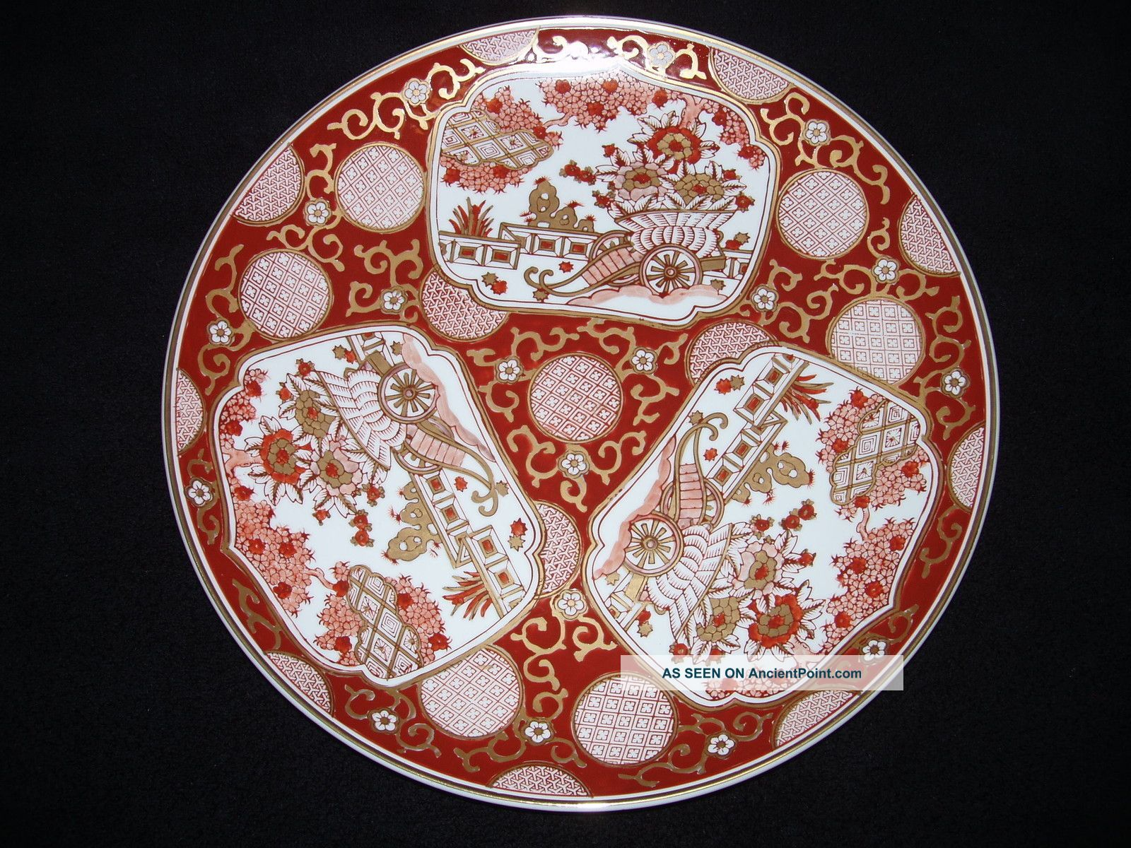 Antique Goldimari Japanese Hand Painted Gold Imari Plate Platter Charger 15.  5