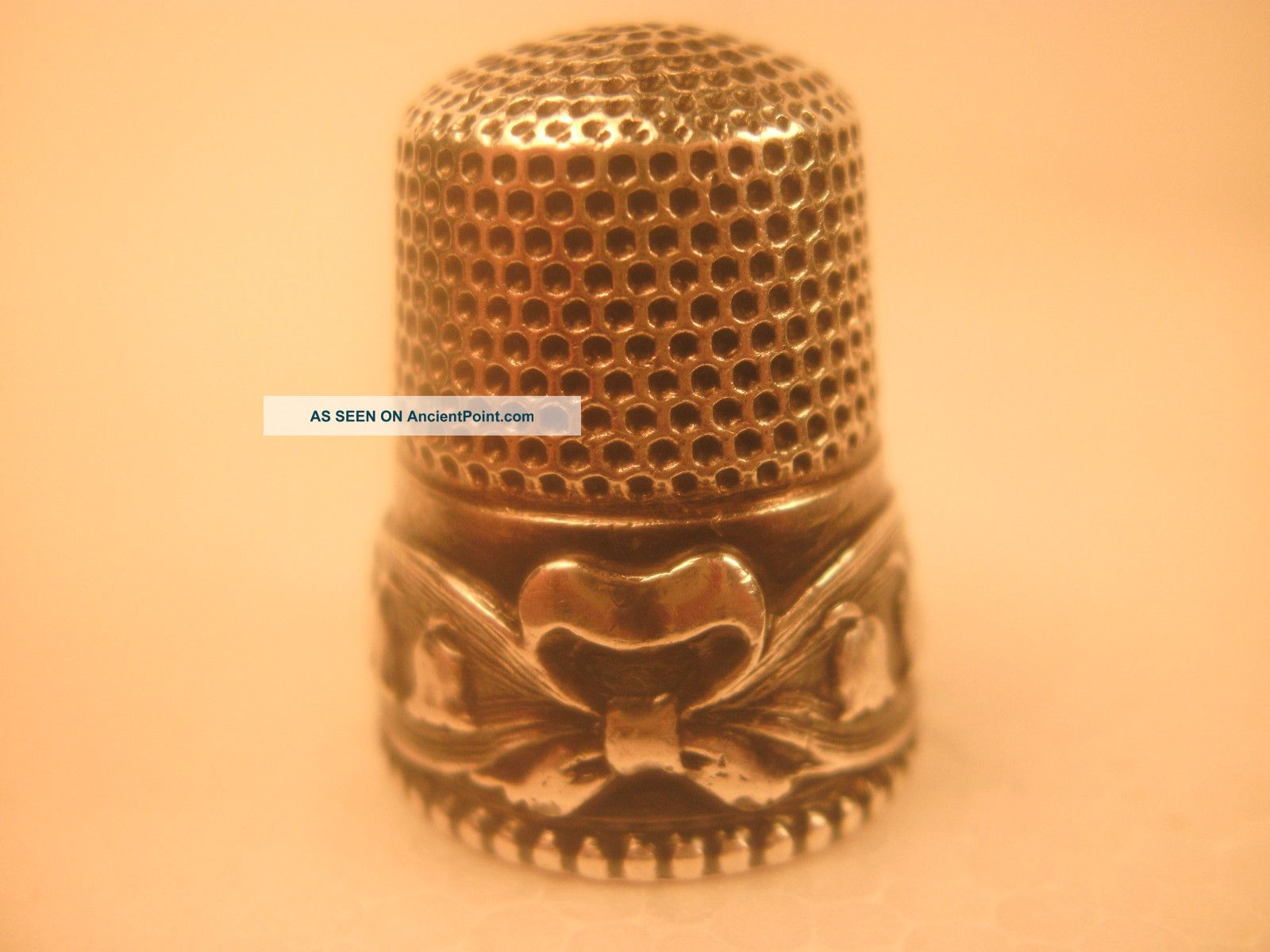 Antique Stern Bros.  Lily - Of - The - Valley With A Bow Sterling Silver Thimble Rare Thimbles photo