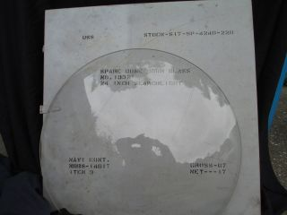 Ww2 Us Navy 24 Inch Glass Searchlight Dome Cover And Steel Case
