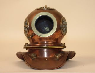 Antique Pure Brass And Copper 8x5 19th Century Style Decorative Diving Helmet photo