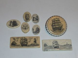 8 Scrimshaw Collection Resin Tiles Ships Lighthouse Ocean photo