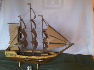 Stunning Wooden Matchstick Clipper Ship - Prison/folk Art - In Sandusky Oh - Lake Erie photo