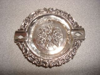Antique 800 Solid Silver Repousse Ashtray photo