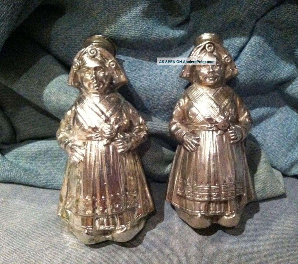 Antique 800 Silver Pair Dutch Girls Salt & Pepper Shaker Statues Silver Alloys (.800-.899) photo