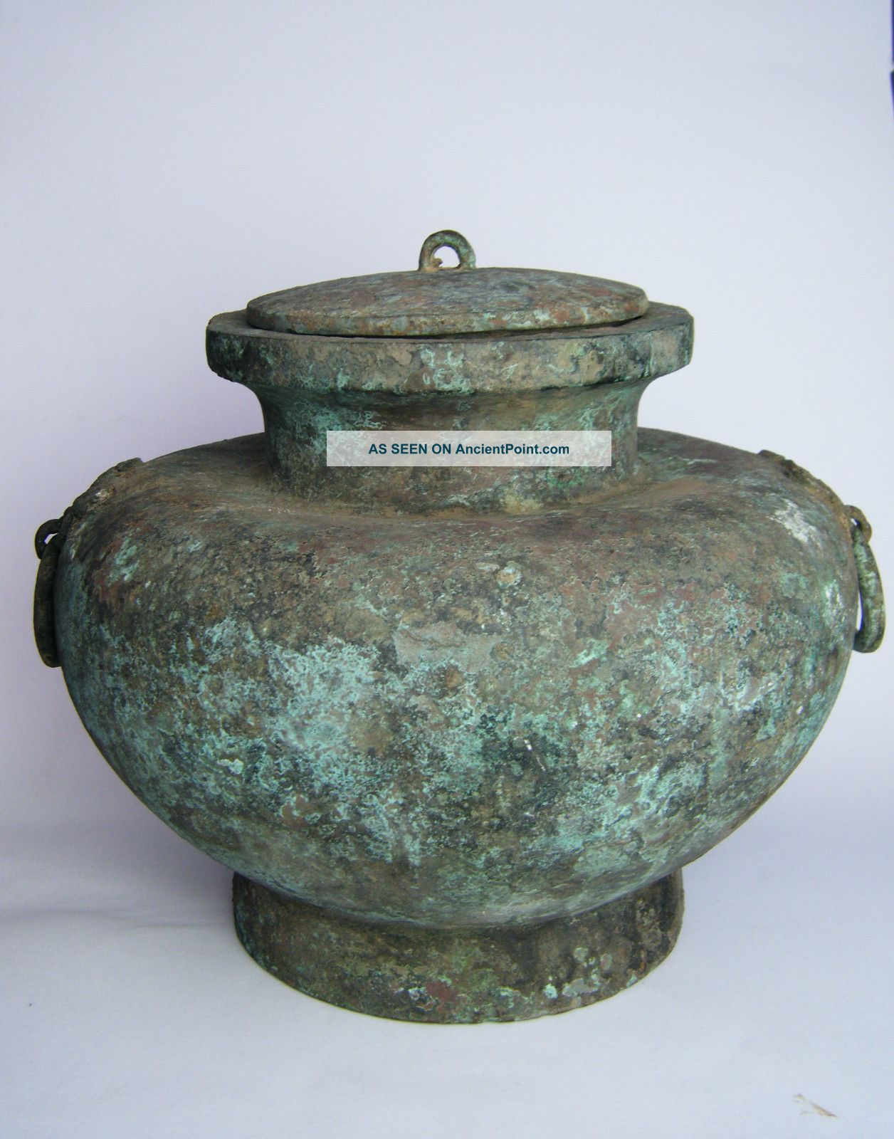 Large Chinese Bronze Squat Jar & Cover,  Taotie Mask Twin Loop Handles Chinese photo