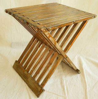 Vintage Mid Century Modern Wood X Base Slat Bench Stool Table Injoi Miami photo