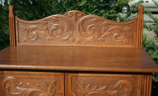 Victorian Golden Carved Oak Tall Chest Carved Backsplash W Key C1890 photo