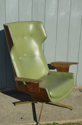 Mid - Century Modern Molded Plywood Wingback Lounge Chair Eames Plycraft Vintage photo