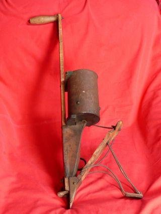 Antique 1893 Hand Held Corn Seeder Working Condition Sheffield Mfg Burr Oak Mich photo