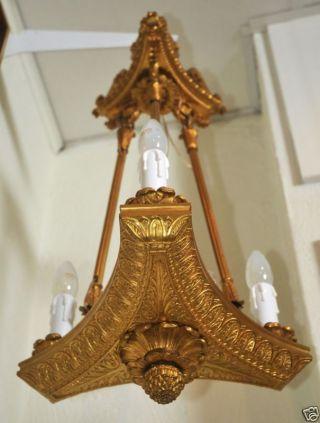 Antique Russian Ormolu Gilt Bronze Chandelier C.  1825 Architect Montferrand photo