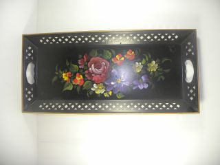Vintage Nashco Floral Toleware Tole Tray Hand Painted photo