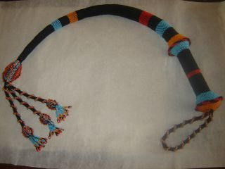 Huge Turkish Prisoner Hand Beaded Knitted Beadwork Whip photo