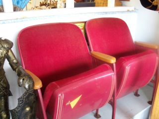 Vintage Theater Chairs - Fold - Up Seat - Red - - Famous Gum photo