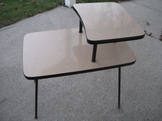 Vtg 1950 ' S Retro Eames Era End Side Table /black Iron Legs/formica Double Tier photo