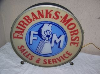 Vintage 1930 ' S Fairbanks Morse Scales Hit & Miss Farm Engine Lighted Sign Works photo