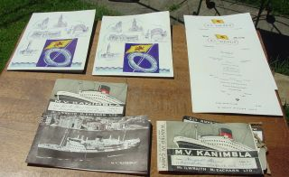 Vntg 1956 M.  V.  Kanimbla Passenger Tickets,  Menus,  Information Booklet photo