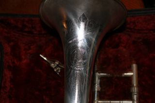 Antique Silver Pan American Trombone W/ Case & Mouthpiece photo