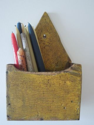 Aafa 19th C.  Primitive Colonial Candle Box Early Yellow Paint From Maine photo