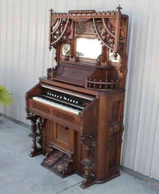 Fabulous Newman Brothers Stick & Ball Victorian Parlor Pump Organ photo