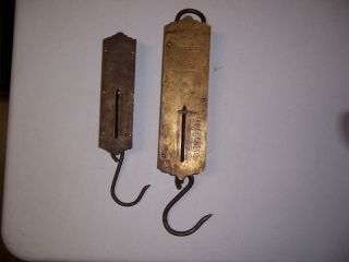 (2) Vintage Landers Spring Hand Hanging Weigh Scales One Has Brass Face photo