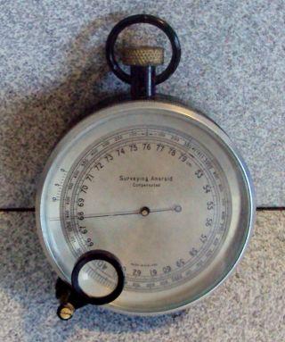 Surveyor Antique Pocket Barometer Altimeter Brass & Metal Surveying England photo