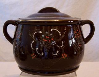 Vintage Japanese Export Brown Clay Hand Painted Tea Caddy Biscuit Jar photo